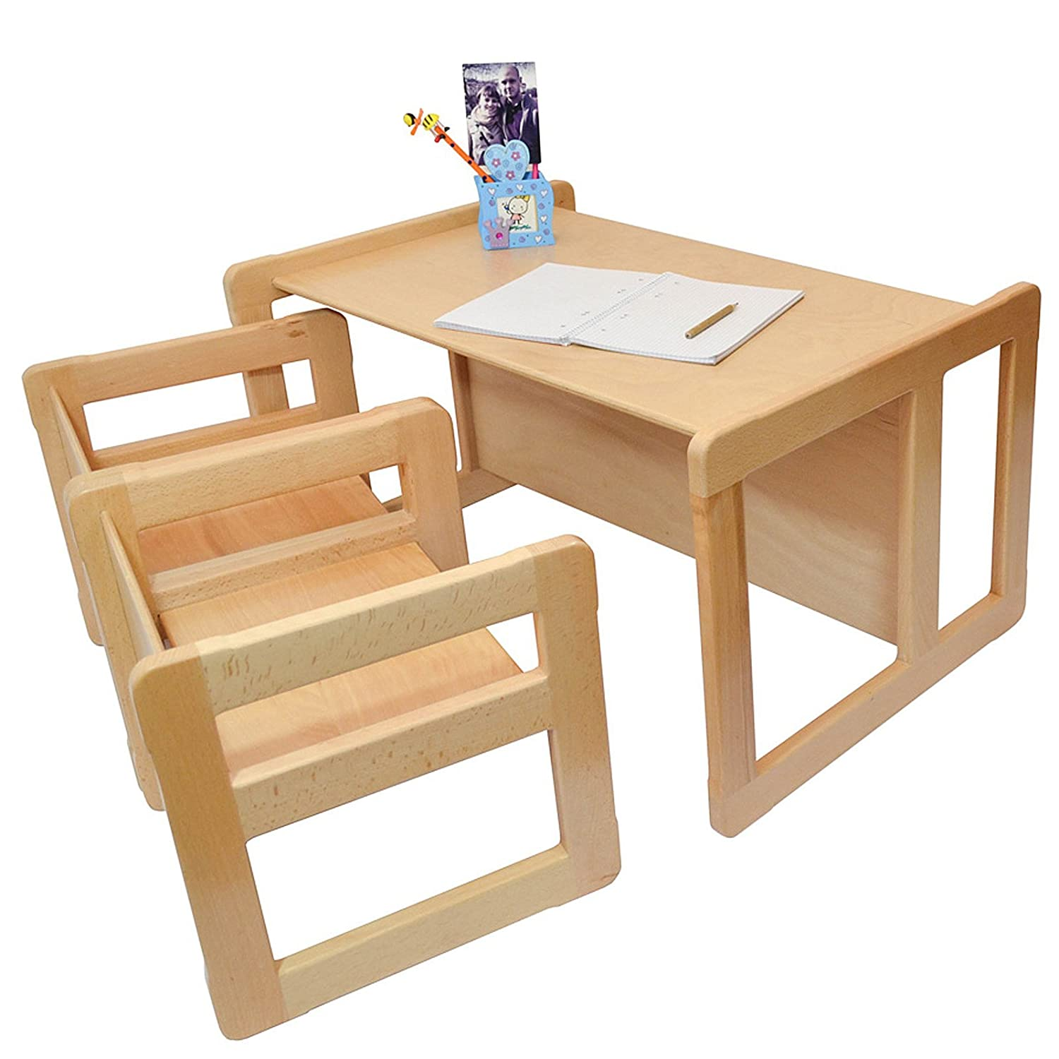 Obique 3 in 1 Children's Multifunctional Furniture Set of 3, Two Small Chairs Tables One Large Bench Table Beech Wood, Natural OB_SET_O_00027