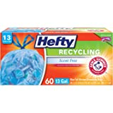 Hefty Recycling Trash / Garbage Bags (Blue, Kitchen Drawstring, 13 Gallon, 60 Count)
