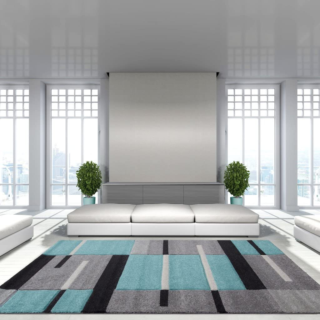 The Rug House Tapis de Salon Bleu Sarcelle, Patchwork carrés ...
