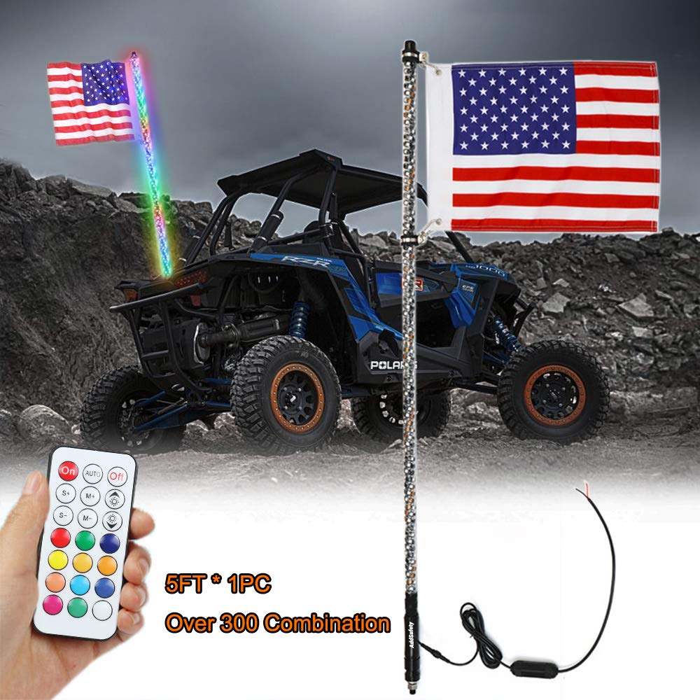 AddSafety 5FT RF Remote Control LED Whips Light With Dacning/Chasing Light with Hookup and American Flag For Off- Road Vehicle ATV UTV RZR Jeep Trucks Dunes by AddSafety