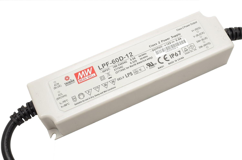 Mean Well Con-tech Lighting LPF-60-12 LED Driver 120v-240v or 277v //12v out
