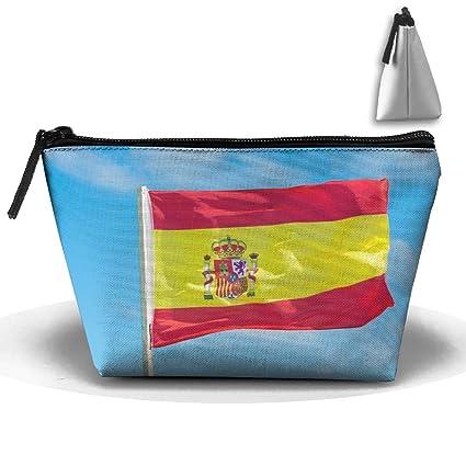 dbe6bd8fb8bd Amazon.com: RobotDayUpUP Spanish Flag In Sky Womens Travel Cosmetic ...