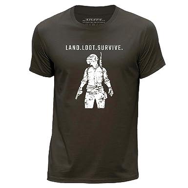 cc430e336 Stuff4® Men's Round Neck T-Shirt/PUBG/Land Loot Survive | Amazon.com