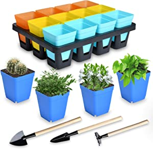 Milkary 16 Pieces Square Plastic Flower Pots, Multi-Color Plant Pots with 1 Tray and 3 Pieces Mini Gardening Tools for Growing Flowers Succulents Garden Home Office Flower Shop Decor Gifts