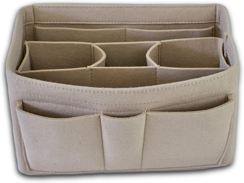 Handbag Organizer - 2in1 Purse Organizer Insert with Inner Zipped Pocket - Tote Shaper fits Speedy Neverfull - Beige Medium