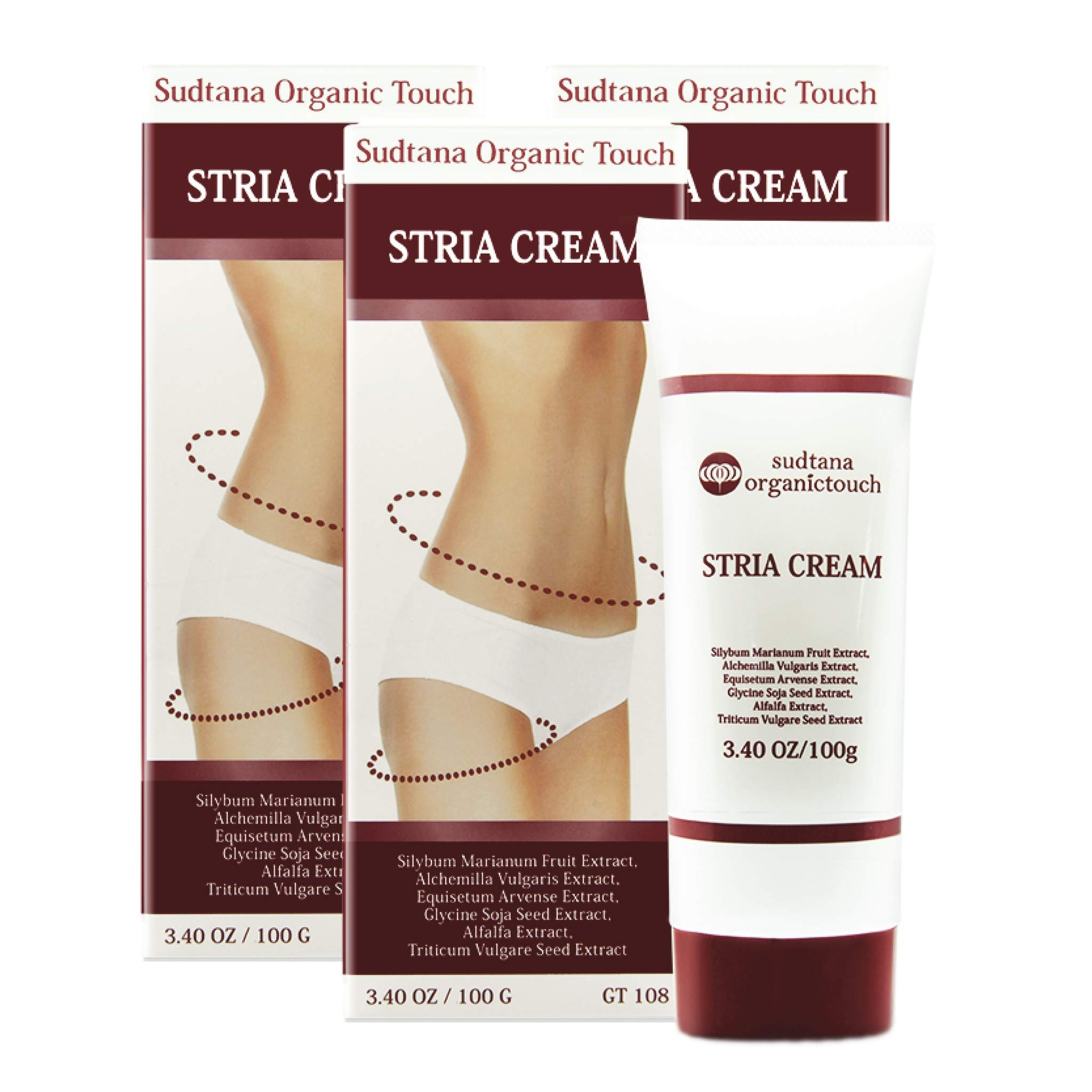 STRIA Natural Stretch Marks, Scar & Dark Spot Remover | Stretch Mark Cream for Skin Hydration, Exfoliation, Tightening & Collagen Boost | Pregnancy Belly Care for Prenatal-Postnatal & Pregnant | 3 pcs