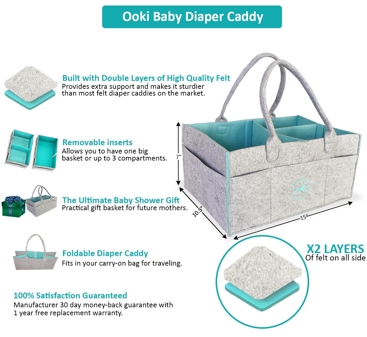 Ooki Baby Large Diaper Caddy Portable Car Seat Travel Basket with Removable Organizer Inserts Foldable Changing Table Storage Organizer for Multiple Baby Supplies Minimalist Nursery Tote Bag