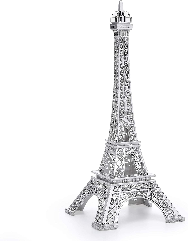 ESHATO 7 Inch Eiffel Tower Statue Decor Alloy Metal Collectible Figurine Replica Souvenir Room, French Eiffel Tower Party Decoration Table Stand Holder Gift for Cake Topper (Silver)