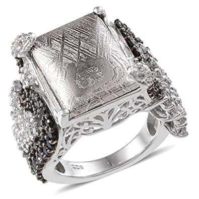 J FRANCIS Women Platinum Plated 925 Sterling Silver Made with Swarovski® Zirconia Cocktail Ring Size Q sAPuKw8X
