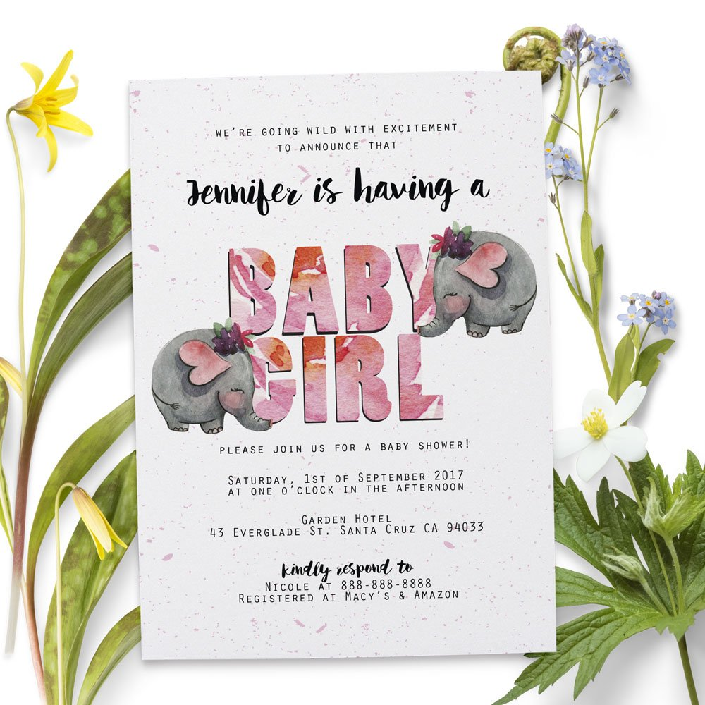 ''Safari Animals Elephant'' Baby Shower Invitation with Envelopes for Boys and Girls | Custom, Personalized Invite Cards - Coed, Couples, Sip and See, Baby Sprinkle Party Supplies - 5'' x 7'' Set of 20 by LoveAtEverySight (Image #2)