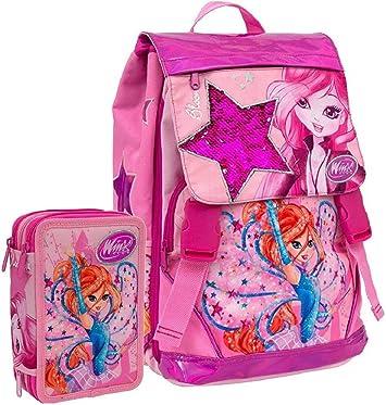 Schoolpack Mochila escolar Winx Club Bloom extensible + Estuche completo con 3 cremalleras: Amazon.es: Equipaje