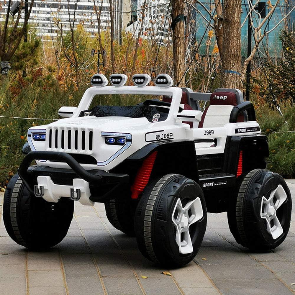 オフロードターミネーター、スーパーパワーオフロード車四輪駆動12v10バッテリー540モーター四輪車オフロードリモートコントロールおもちゃの車,白,Leatherseat