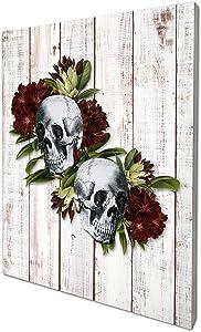 akeke Anatomy Skull Flower Floral Vintage Rustic Farmhouse Wood Wall Art Decor, 8