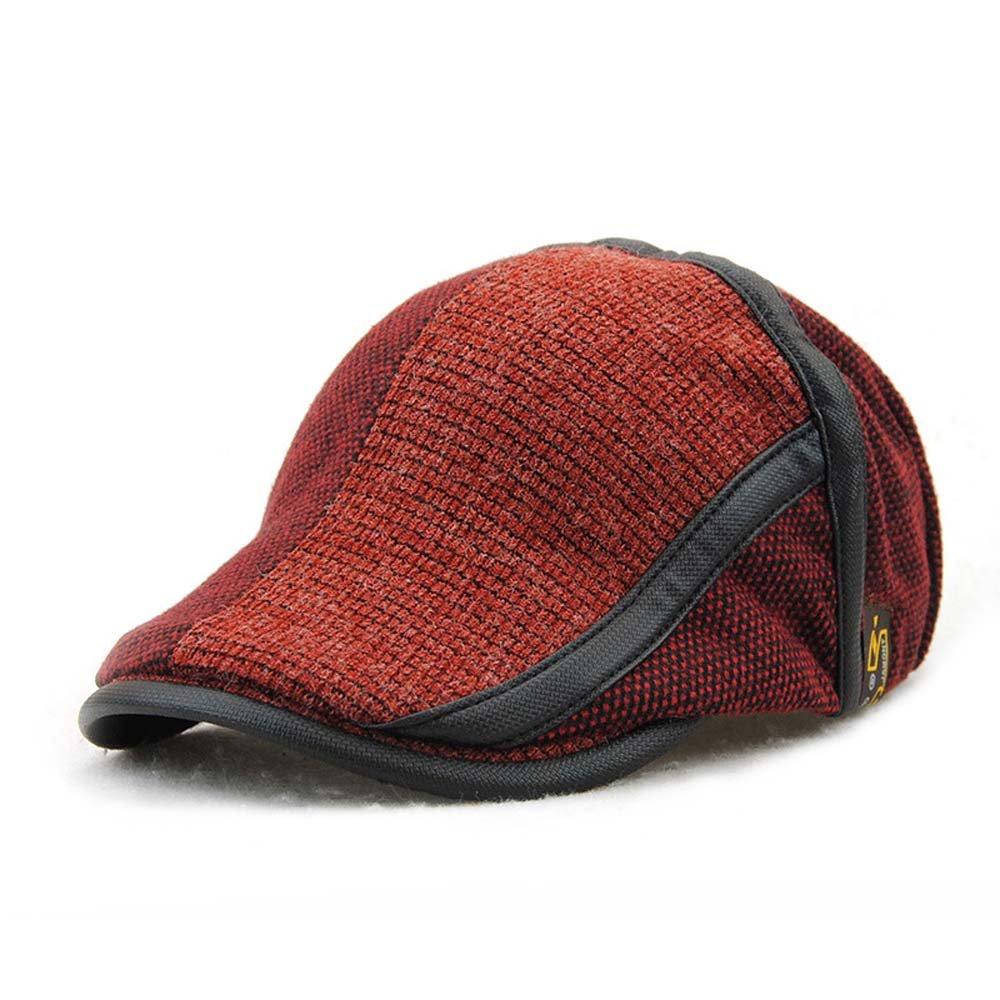 Men's Beret Hat Knitted Woollen Casquette Flat Visor Newsboy Peak Cap E8208
