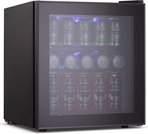 Joy Pebble Beverage Cooler And Refrigerator 60 Can Mini Fridge With Glass Door For Soda Beer Or Wine Small Drink Cooler For Home Office Or Bar 1 6 Cu Ft Appliances