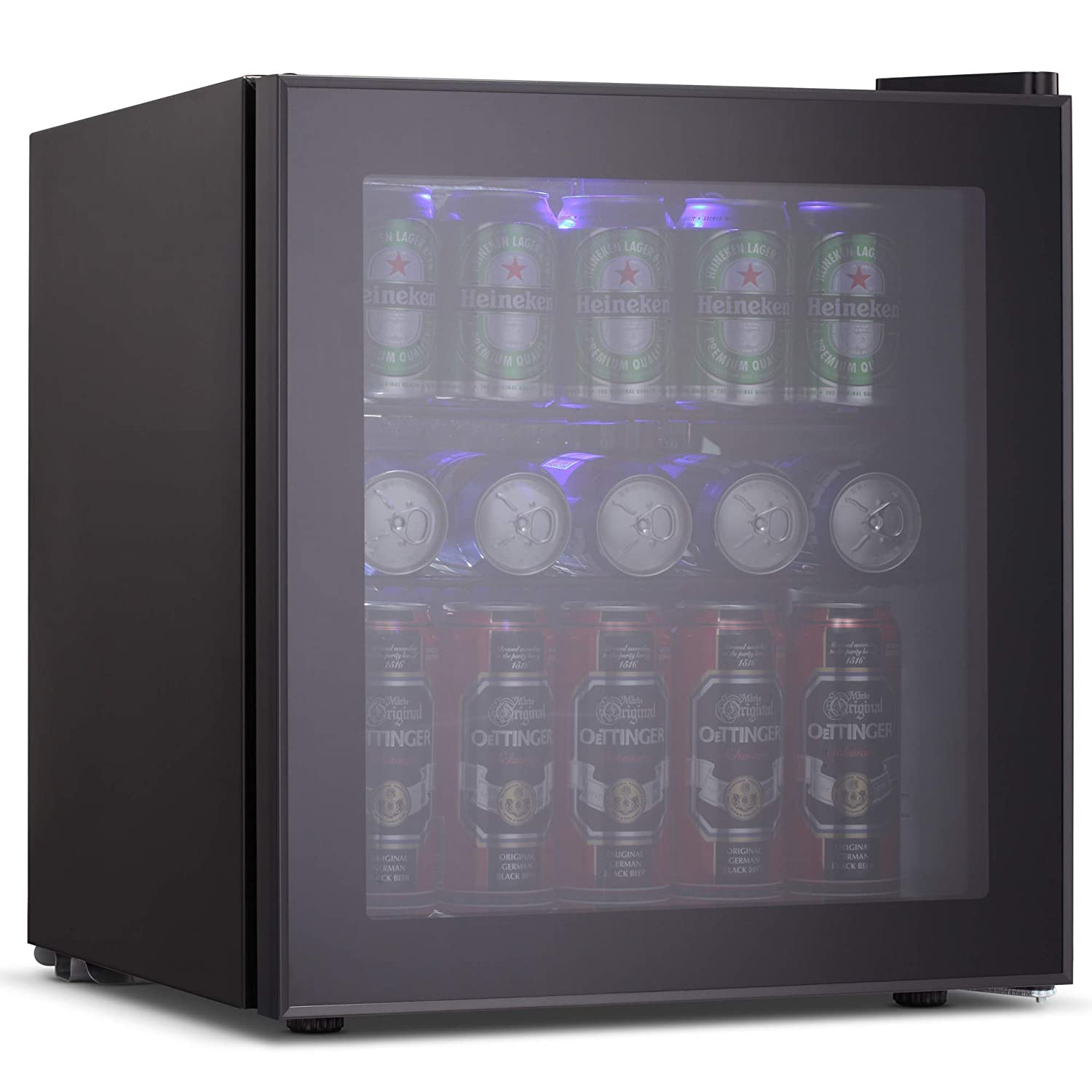 Joy Pebbe Beverage Cooler and Refrigerator with Glass Door (1.6 cu.ft, Black)