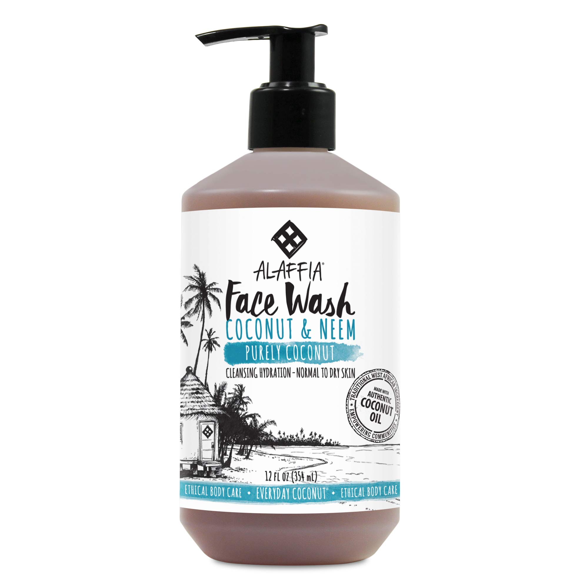 Alaffia - Purely Coconut Face Wash, Normal to Dry Skin, Cleansing Support to Remove Makeup Leaving Skin Fresh and Hydrated with Neem, Lavender Oil, Fair Trade, Coconut and Neem, 12 Ounces (FFP)
