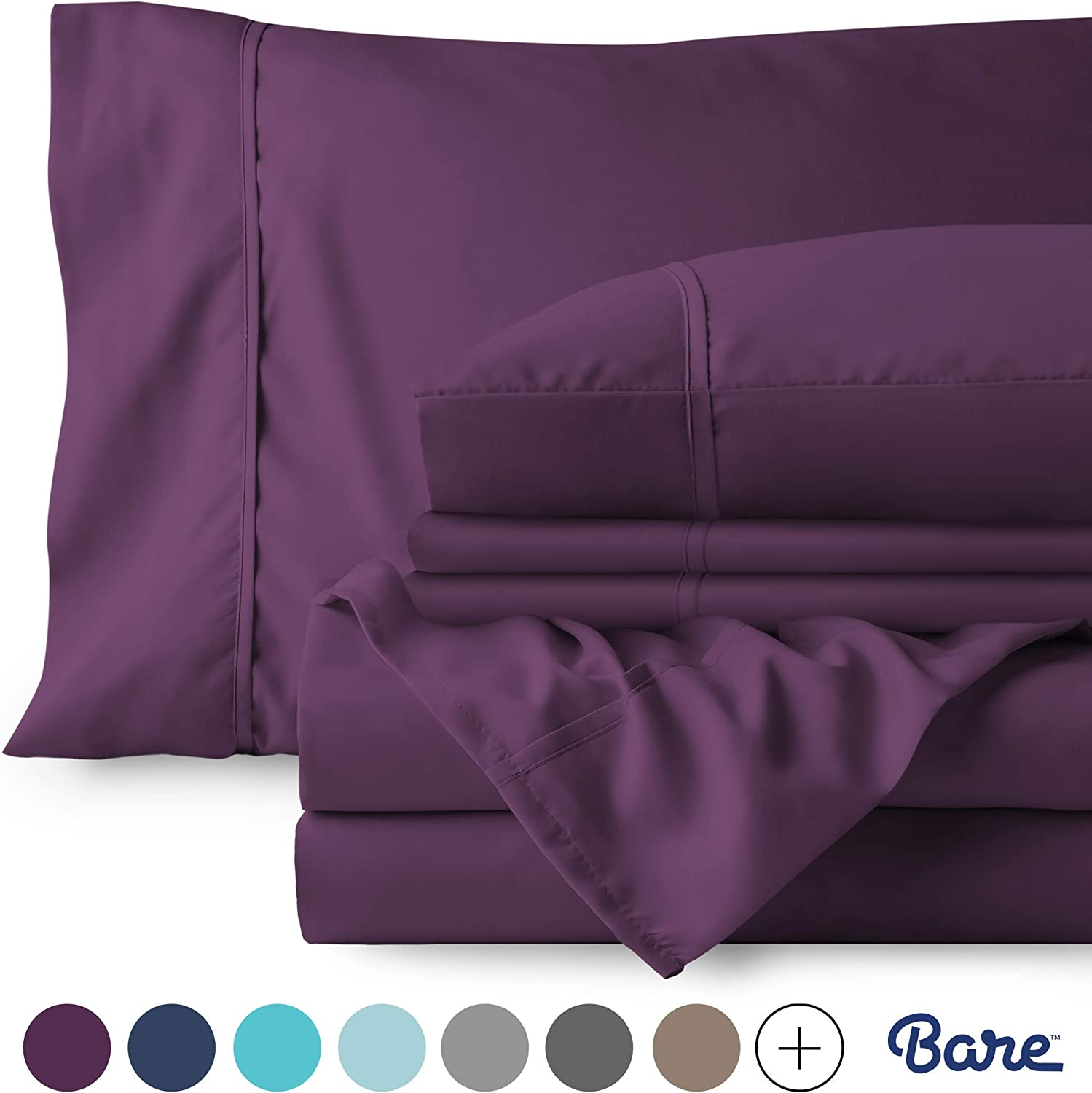 Bare Home 6 Piece 1800 Collection Deep Pocket Bed Sheet Set - Ultra-Soft Hypoallergenic - 2 Extra Pillowcases (Queen, Plum)