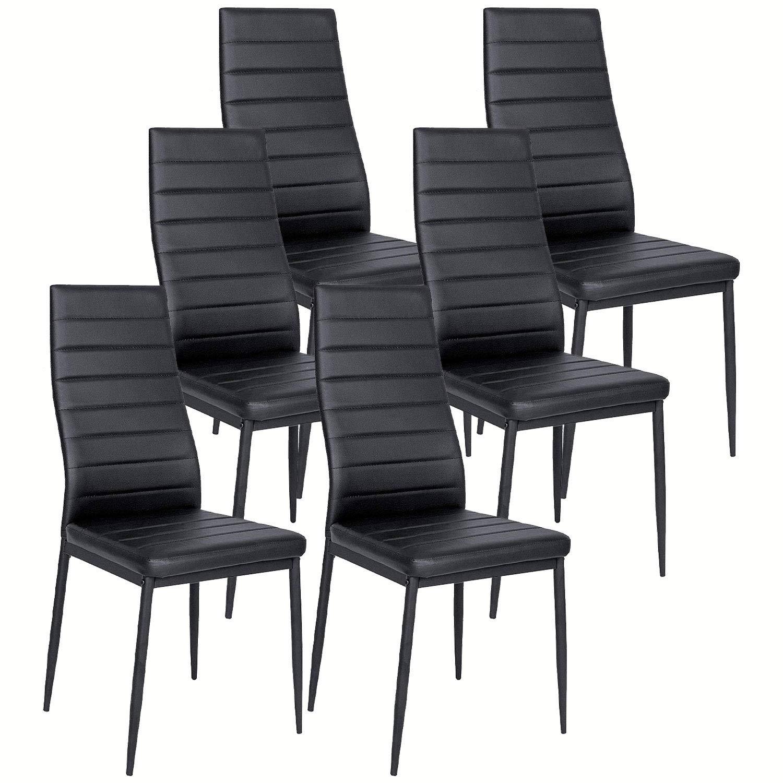 Sala riunioni per ufficio Sedia con schienale alto Sedile imbottito Sedie da pranzo nere Set di 6 paia di moderne sedie in ecopelle Parson con schienale alto Cucina Mobili per sala da pranzo