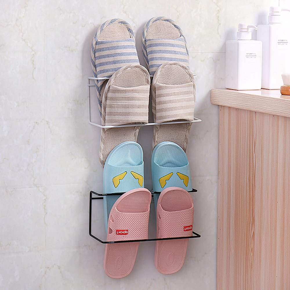 LONGPRO Wall Mounted 2 Tier Shoes Rack Slipper Shelf Storage Organizer Shoes Shelf Holder Sticky Shoe Storage Organizer Wall Shoe Hangers Wall Shoe Hangers Set of 2 Pack for Entryway Bathroom Shower R by Longpro (Image #3)