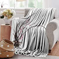 PearlRolan Gravity Blanket,Art,Traditional Ink Orchid Flower Drawing Oriental Chinese Effects Spiritual Theme,Charcoal Grey Pink,All Seasons Anti-Static Couch Blanket Travelling Camping Blanket
