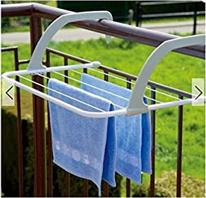 Lucoo Drying Rack, Indoor/Outdoor Easy Install Folding Clothes Drying Rack-Hanging Over The Door or on Bathroom Windowsill Guardrail Corridor Balcony