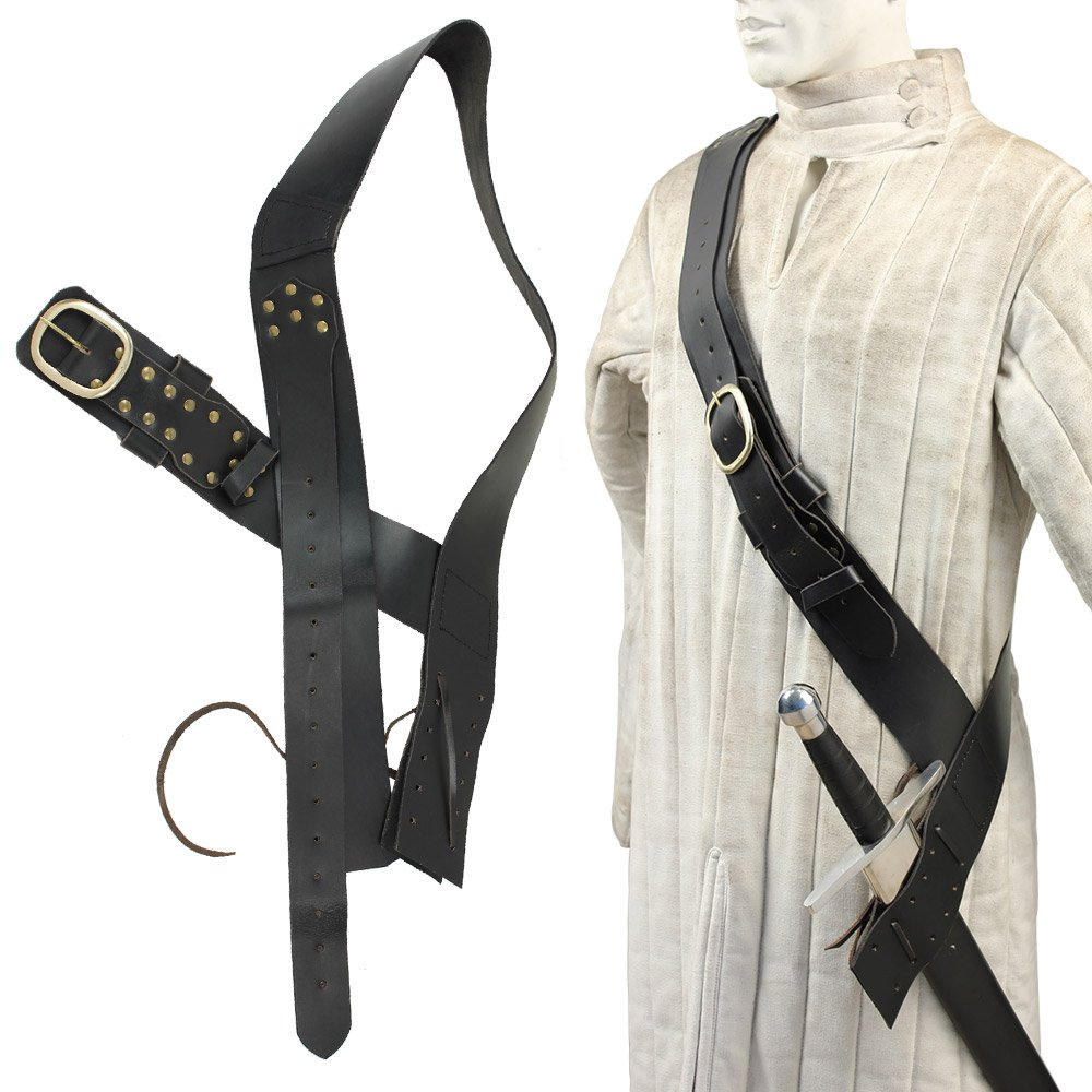 Queens Guard Medieval Baldric Belt Black by Armory Replicas
