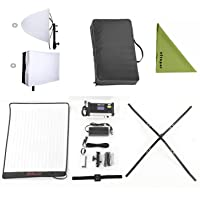 Falcon Eyes Bi-Color RX-18TD Bi-Color Dimmable 3000K-5600K 100W with Softbox Diffuser Portable Flexible LED Photo Light (RX-18TD Kit)