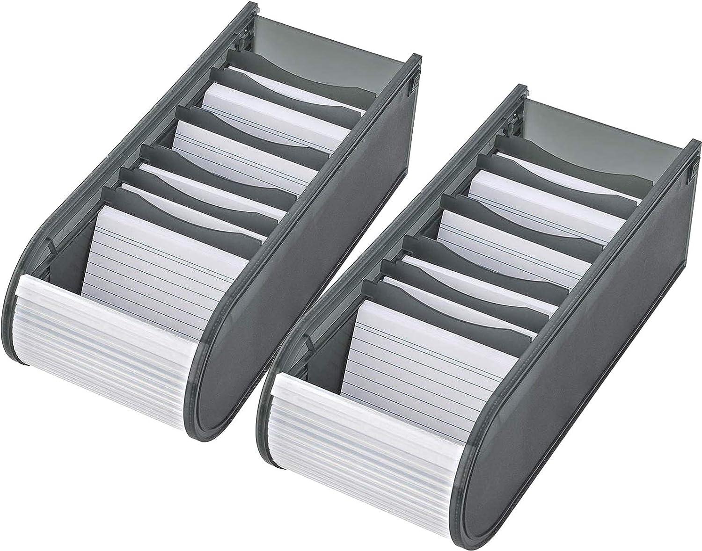 Lernkartei-Box A8 Wedo blau oder pink Rollverschluss mit Karten