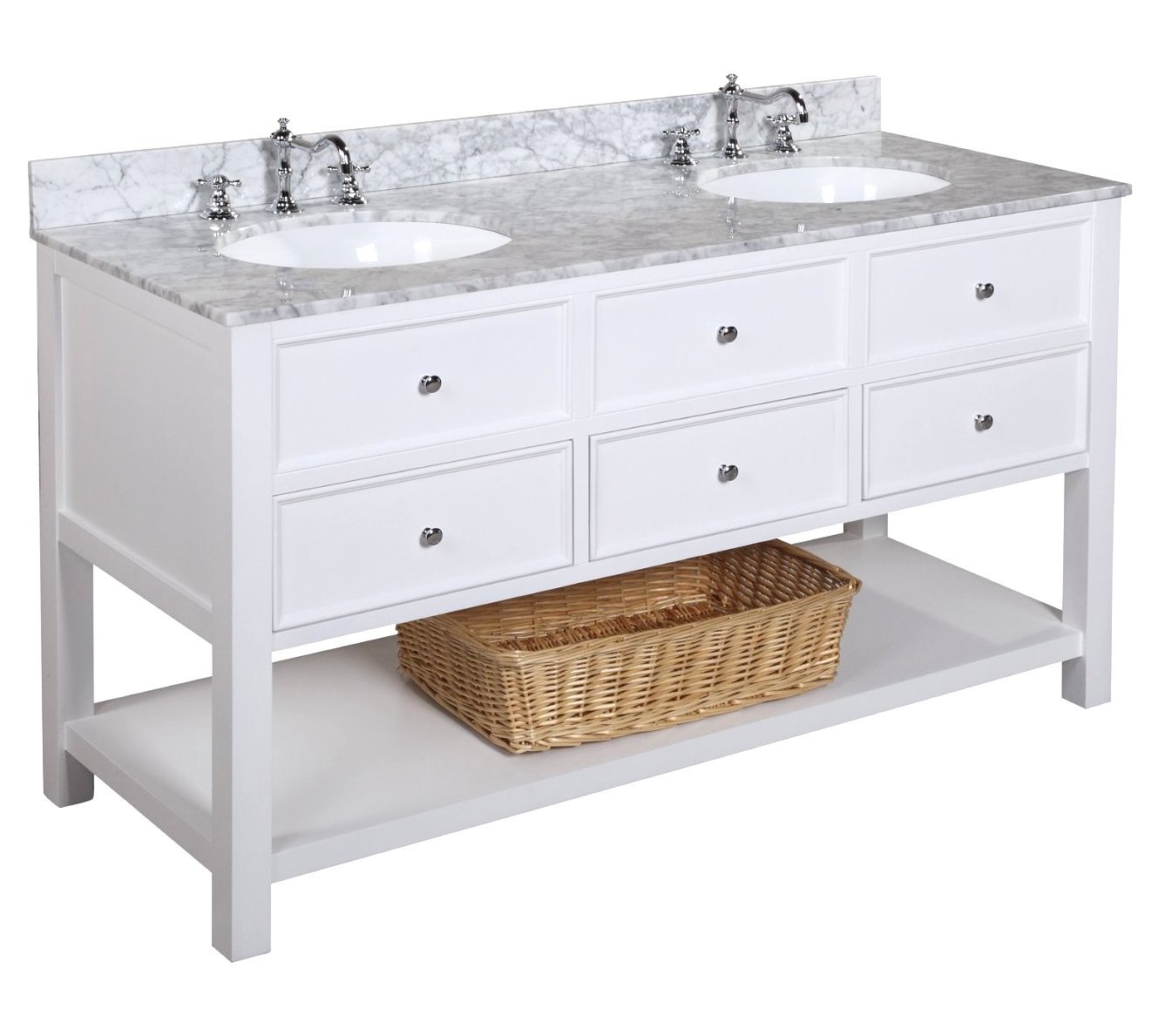 New Yorker Kitchen Cabinets New Yorker 60 Double Bathroom Vanity Carrara White Amazoncom