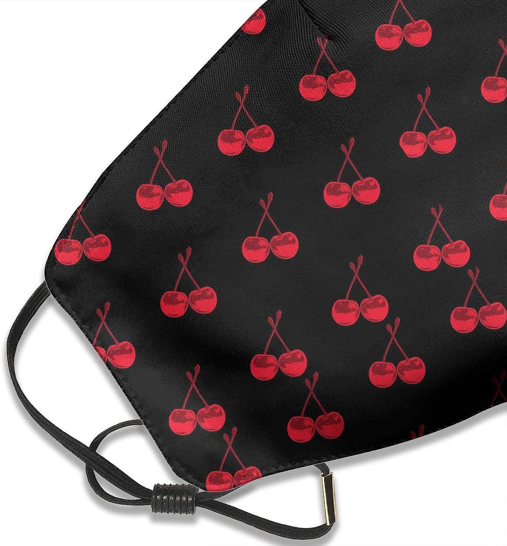 Cubierta para la cara para hombres y mujeres fondo negro cereza impreso con m/áscara ajustable para la oreja boca antipolvo