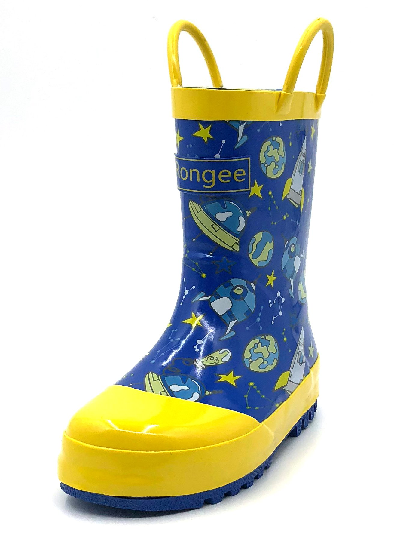 Rongee Rubber Rain Boots for Toddler Little Kids with Cute Space Print and Easy-On Handles and Oxford Bag Packed(10M US Toddler)