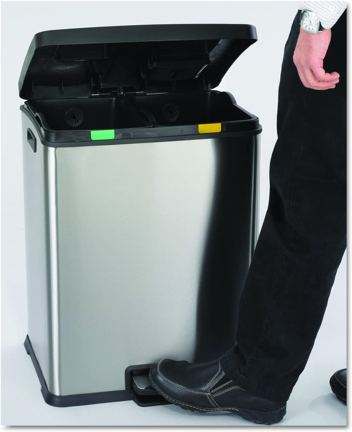 Safco Products 9634SS Right-Size Recycling Station Two 7 1//2-Gallon Compartments Stainless Steel
