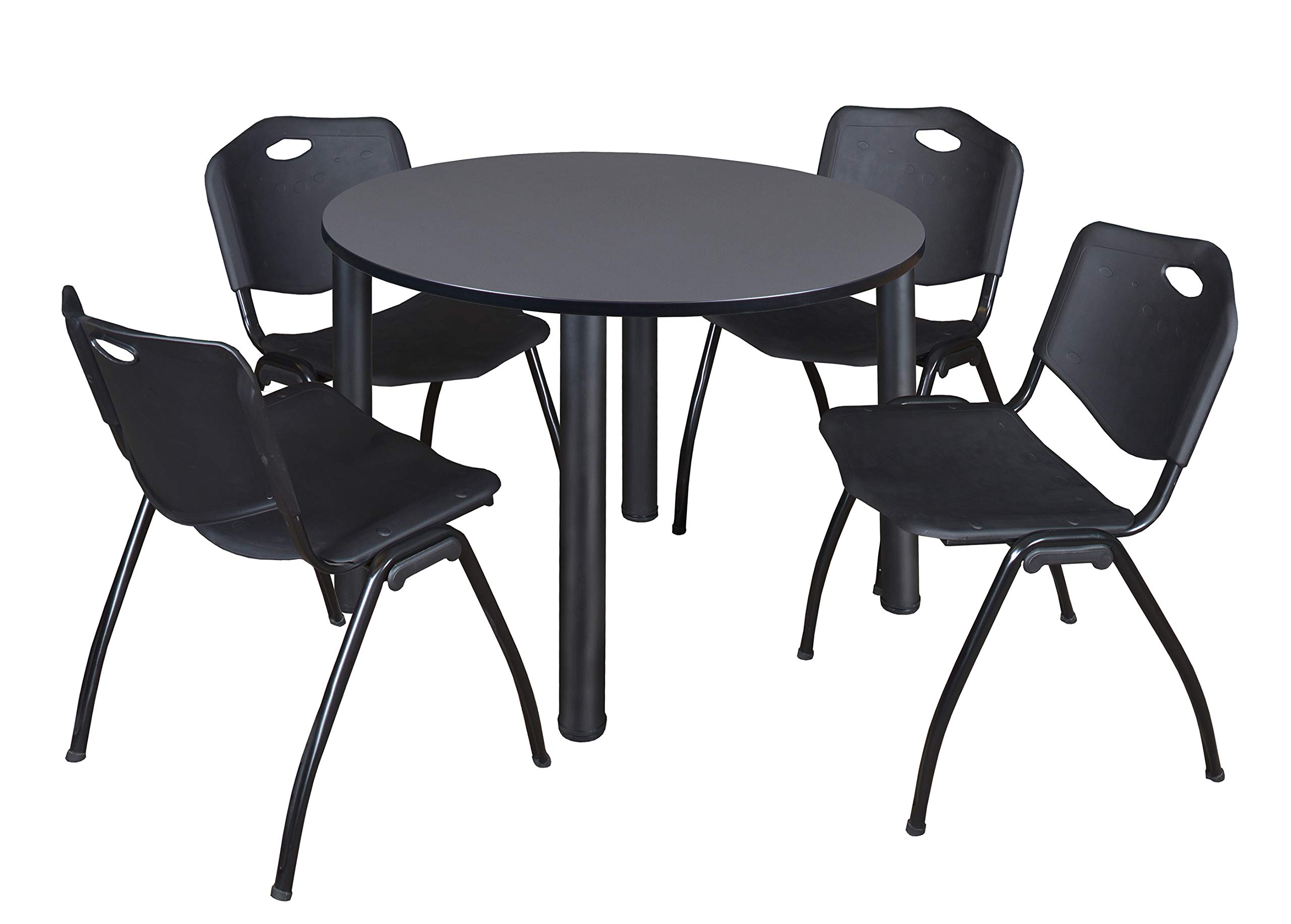 Kee 48'' Round Breakroom Table- Grey/ Black & 4 'M' Stack Chairs- Black by Regency