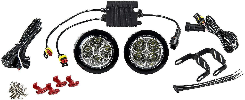 9 LEDs Wei/ß 12 V Folconroad Tagfahrlicht//Nebelscheinwerfer 2 St/ück rund