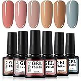 TOMICCA Gel Nail Polish Set 6 Colour Collection, Soak Off UV LED (E)