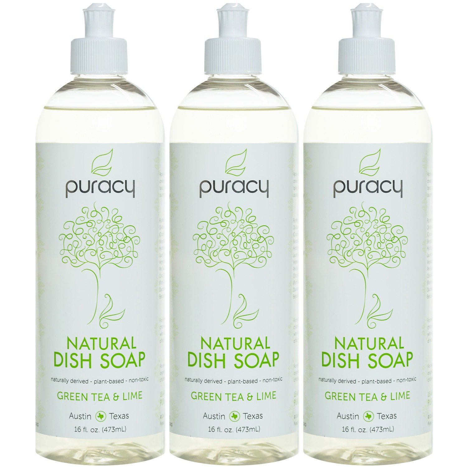 Puracy Natural Liquid Dish Soap, Sulfate-Free Dishwashing Detergent, Green Tea and Lime, 16 Ounce Bottle, (Pack of 3)
