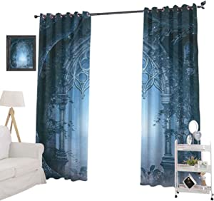 """YUAZHOQI Room Darkening Blackout Window Curtains Passage Doorway Through Enchanted Foggy Magical Palace Garden Night Scenery, Energy Efficiency Window Draperies for Bedroom 52"""" x 72"""", Navy Gray"""