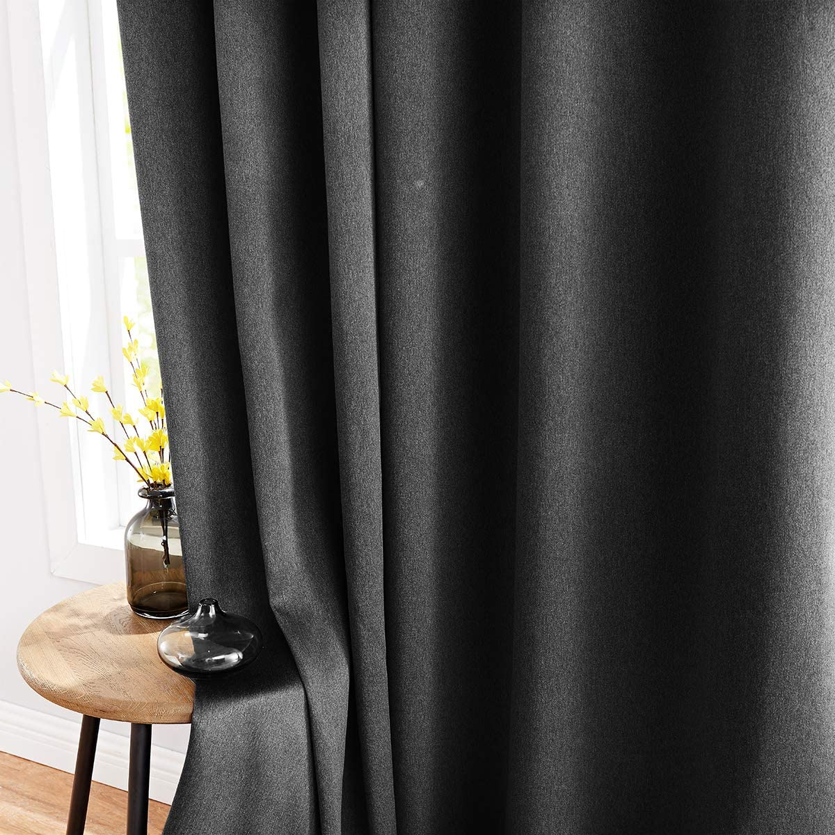 Fmfunctex Gray Full Blackout Curtain Panels for Bedroom 96-inch Long Soft Energy Efficient Modern Window Curtain Drapes Charcoal Grey, 40 Width Panel 1 Pair Grommet Top