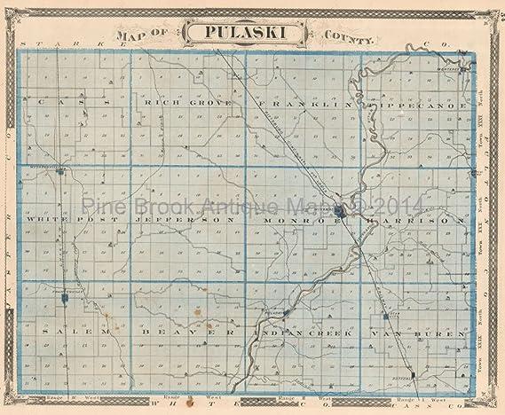 Pulaski County Indiana Antique Map Baskin 1876 Original Indiana