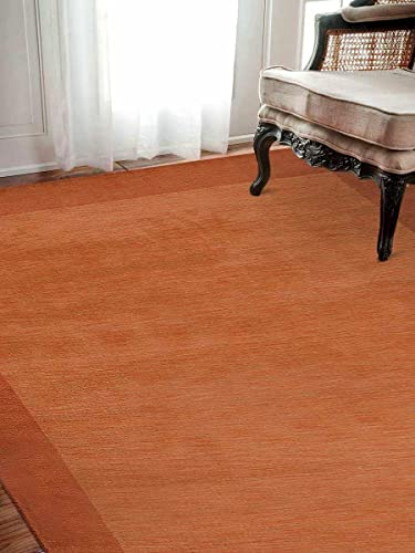 Rugsotic Carpets Hand Knotted Gabbeh Wool 8'x10' Area Rug Contemporary Orange L00213