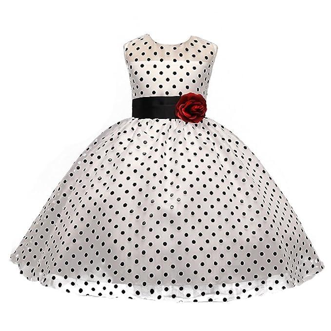 Hibote Niñas de Flores Retro del Lunar de Audrey Hepburn Princesa Vestidos de 110cm