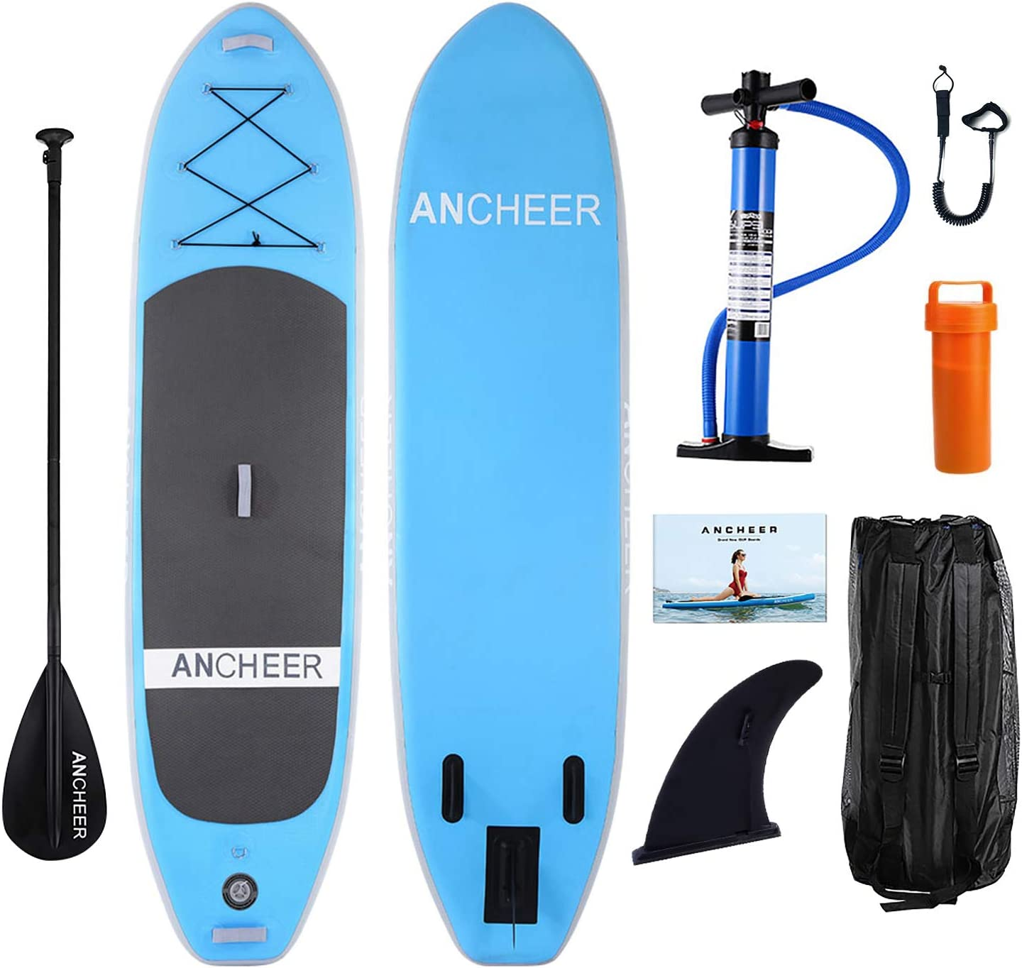 ANCHEER Inflatable Stand Up Paddle Board 10 , Non-Slip Deck 6 Inches Thick , iSUP Boards Package w Adjustable Paddle, Leash, Hand Pump and Backpack, Youth Adult