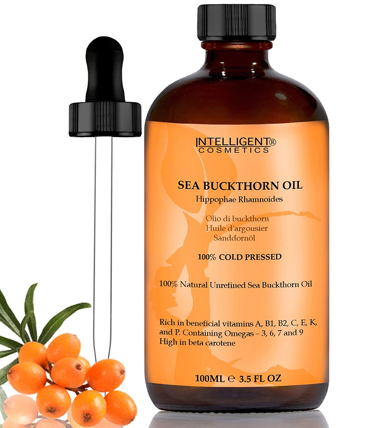 SEA BUCKTHORN OIL 100ML, 100% Cold Pressed Organic, Unrefined, Pure & Natural, Repairs Damaged Skin, Calms Irritated Skin, Heals Rosacea, Supplied in Glass Amber Bottle with Pipette Intelligent Cosmetics®