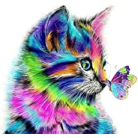 Diamond Painting Kits for Adults,Colorful Butterfly Kiss Cat,Gem Art and Craft Puzzle,DIY 5D Full Round Diamond Drill…