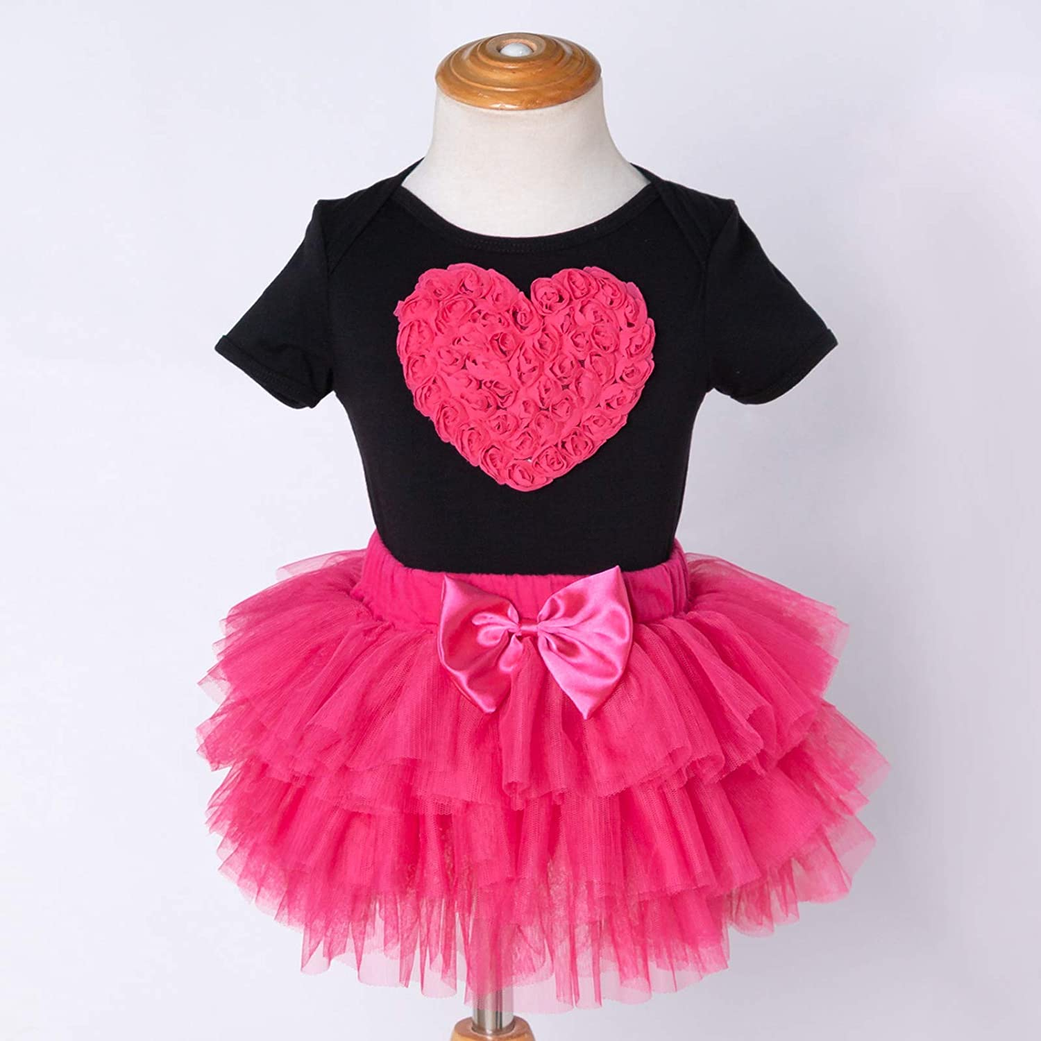 My First Valentines Day Newborn Infant Baby Girl Outfits Romper Top Tutu Tulle Skirt Princess Clothes Set