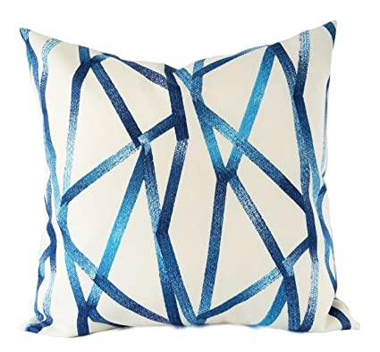 Amazoncom Celycasy Two Outdoor Pillows Blue White Pillow Cover