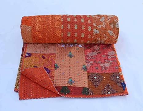 Reversible Kantha Quilt Indian Patch Blanket Handmade Cotton Quilt Hand Stitched Vintage Patchwork Kantha Bedspread Quilt Sari Kantha Quilt