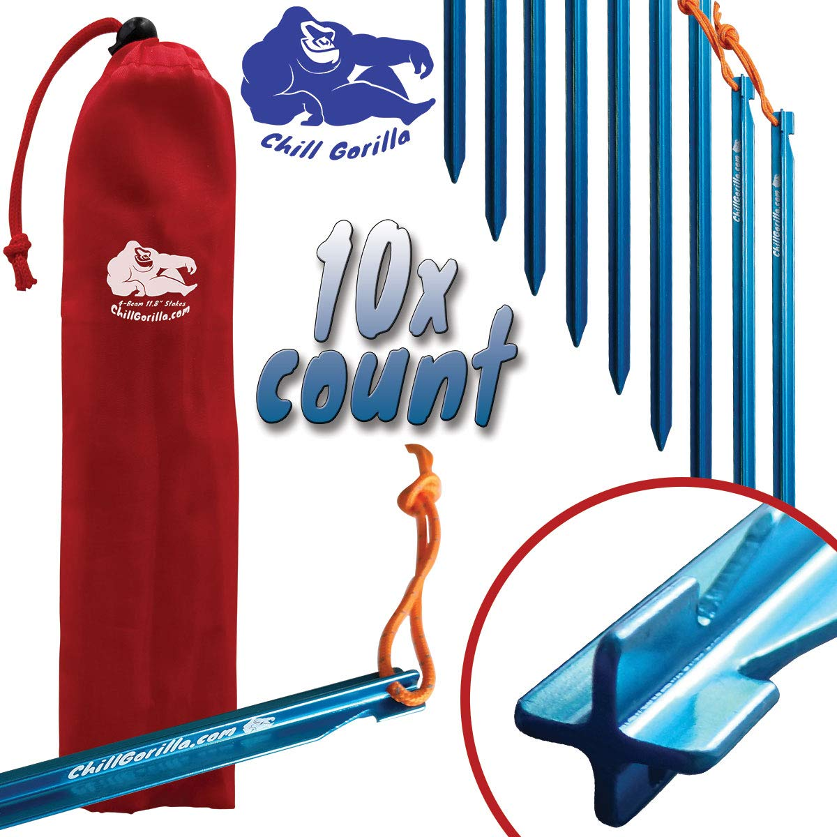Chill Gorilla 11.8'' 10X Tent Stakes - Heavy Duty Lightweight Strong 7075 Aluminum Alloy Pegs for Camping, Rain Tarps, Hiking, Backpacking. Essential Camping Gear. ENO & MSR Accessories. Blue by Chill Gorilla