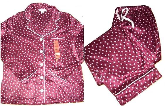 18f597d20a28 Carole Hochman Fleece Pyjama Set Med UK10 12 Maroon with Pink Spots Button  Up Top Elasticated Drawstring Pants  Amazon.co.uk  Clothing